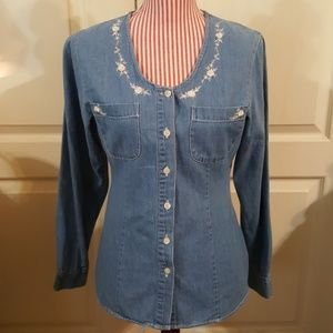 """""""At Last"""" Denim Blouse w/Embroidery. Sm/Med"""